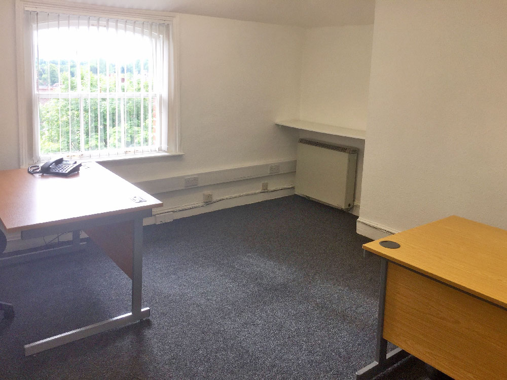 Office third floor room for up to four people with a view of Winchester Cathedral