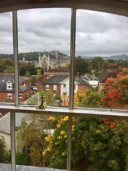 Vew of Winchester Cathedral from office 9/3.6 window